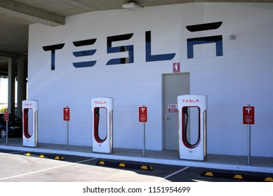 Tesla charging station in Australia, Coffs Harbour shopping mall in New South Wales on 7 August 2018. Illustrative editorial only.