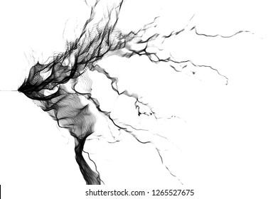 Tesla Coil, Black Electrostatic Discharge, spark, Black lightning on white background.