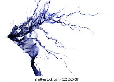 Tesla Coil, Blue Electrostatic Discharge, spark, Blue lightning on white background.