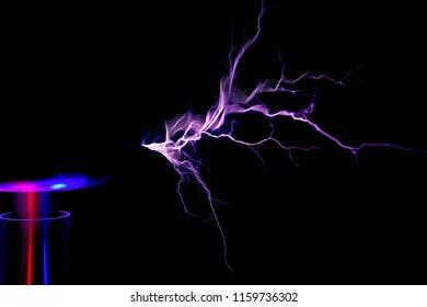 Tesla Coil, Electrostatic Discharge on black background