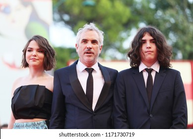Tess Bu Cuaron, Alfonso Cuaron and Olmo Teodoro Cuaron walks the red carpet ahead of the 'Roma' screening during the 75th Venice Film Festival at Sala Grande on August 30, 2018 in Venice, Italy.