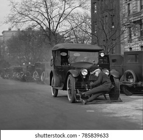 Test of an automobile equipped with a 'cow catcher' for the safely of pedestrians. Washington, D.C., Dec. 17, 1924