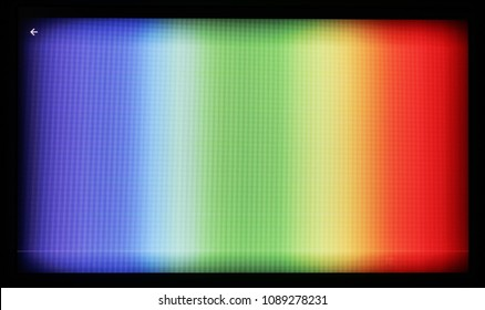 Test chart of color tv shot on the camera of a cheap tablet. The photo is displayed on the screen  with resolution 1024 by 600 pixels.  LED pixels  and vignetting of the lens are are clearly visible