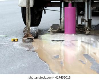 Test drilling hole in asphalt