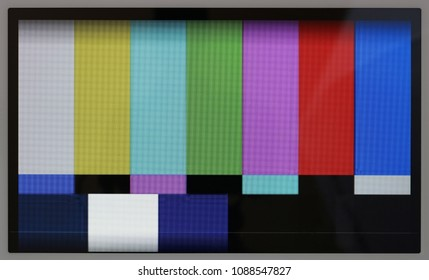 Test pattern  of color television lines on the no name modern tablet  real screen with resolution 1024 by 600 pixels. A well visible point like LED texture