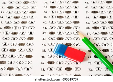 Test score sheet with answers. School and education concept.