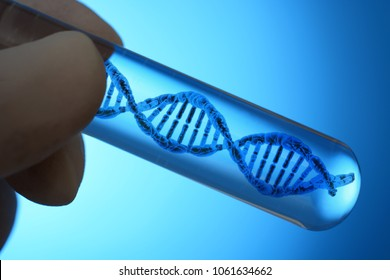 Test tube with DNA double helix as a symbol for genetics, genetic engineering and heredity