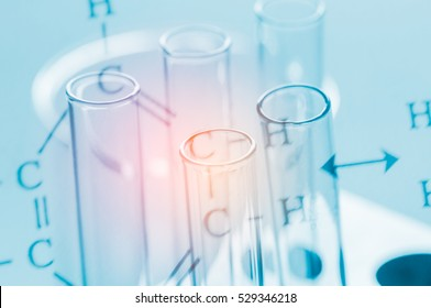 Test tubes with chemical formula