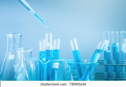 Test tubes closeup, science laboratory research and development concept