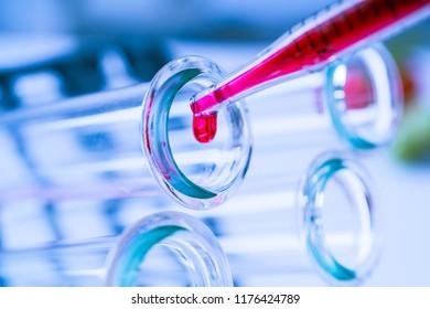 Test tubes closeup.medical glassware.Test tubes closeup on blue background
