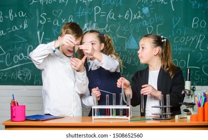Test tubes with colorful substances. Girls and boy student conduct school experiment with liquids. Check result. School chemistry lesson. School laboratory. Group school pupils study chemical liquids.