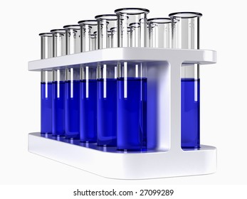 Test tubes in holder with blue liquid on white background