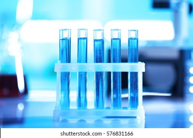 Test tubes in holder on blurred background