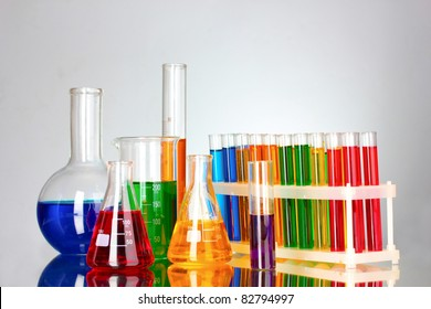 test tubes in the laboratory on a gray background