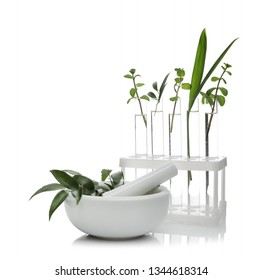 Test tubes and mortar with plants isolated on white. Organic chemistry