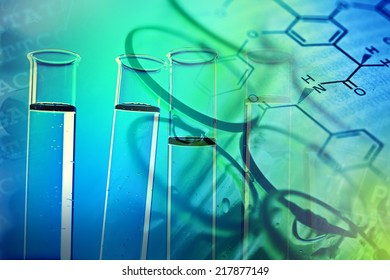 Test tubes over blue background
