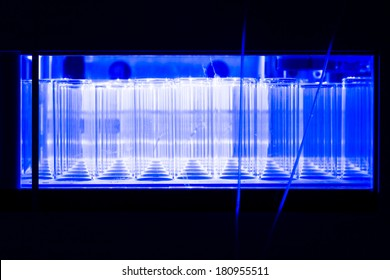 Test vials inside a HPLC system in a real life laboratory.