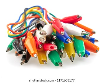 Test wires with crocodile clips on both ends are used to create a temporary electrical connection in electronics projects and prototypes