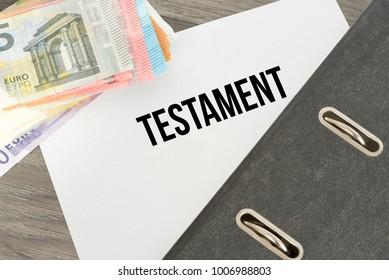 Testament and Euro bills