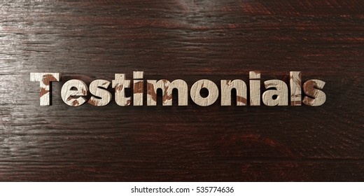 Testimonials - grungy wooden headline on Maple  - 3D rendered royalty free stock image. This image can be used for an online website banner ad or a print postcard.