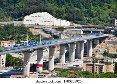 testing and load tests of the new genoa bridge with trucks and radio-controlled trolleys  Genoa Italy