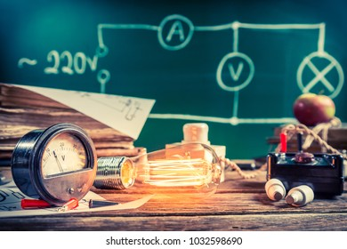 Testing and measuring of electricity consumption by a light bulb