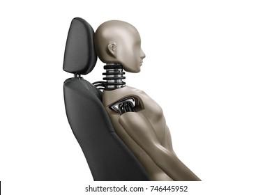 Tests Car Seat Protection Against Whiplash Neck Injury isolated on white background