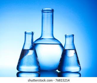 Test-tubes blue colors. Laboratory glassware