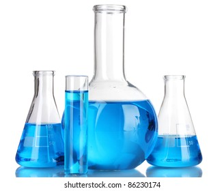 Test-tubes with blue liquid isolated on white