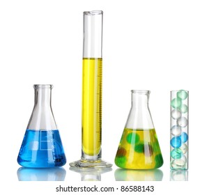 Test-tubes with liquid isolated on white