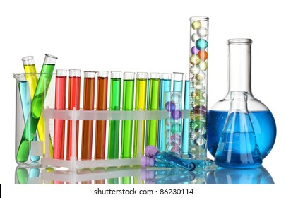 Test-tubes with liquid on gray background