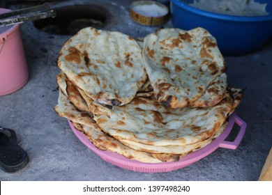 Testy tandoor bread placed in the oven .bingol/turkey