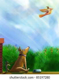 A tethered dog sitting before a bowl of food and looking at a flying bird.