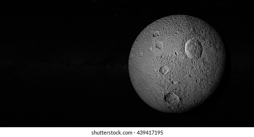 Tethys or Saturn III, mid-sized moon of Saturn on space bacground mid-sized moon of Saturn.3d rendering. Elements of this image furnished by NASA