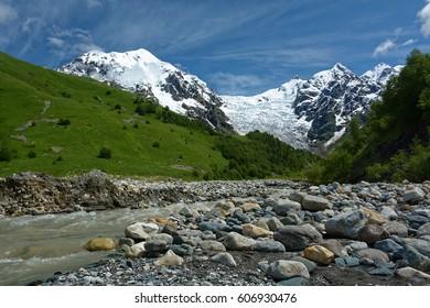 Tetnuldi and Adishi glacier. Caucasus mountains. Svaneti region. Georgia. Europe - Shutterstock ID 606930476