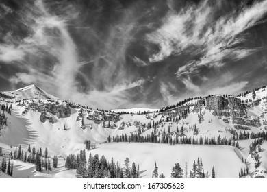 Teton backcountry sky Monochrome taken west of Jackson Hole mountain resort.