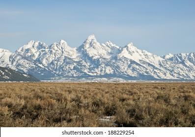 The Teton Peaks and sagebrush steppe of Wyoming near Jackson Hole in Spring.