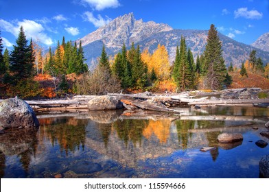 Teton Range Reflection on Jenny Lake, Wyoming, America