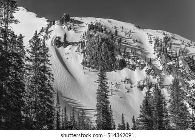 Teton winter ski chutes.  Taken from a popular ascent called Maverik.