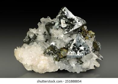 Tetrahedrite on quartz matrix from Romania.