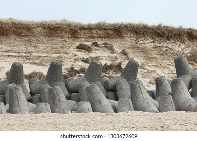 Tetrapods as coast protection in the south of island of Sylt
