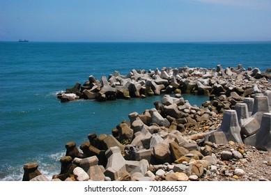 Tetrapods or concrete breakwater blocks of the seaside