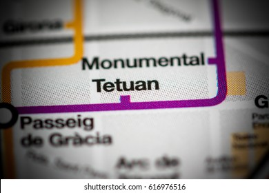Tetuan Station. Barcelona Metro map.