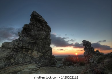 Teufelsmauer (devils wall) in Germany close to Quedlingurg at sunrise