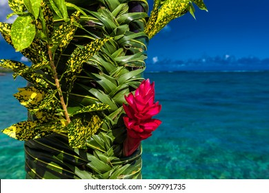 Teuila red flower used for wedding decoration agains beach on Samoa Islands