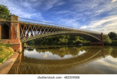 Tewkesbury, England, UK, July 5 2016 - Showing the Mythe iron bridge designed by Thomas Telford and built in 1823 spanning the river severn