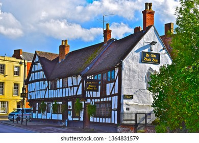 Tewkesbury, Gloucestershire / England - 9/13/2017:'Ye Olde Black Bear' in Tewkesbury, is reputedly the oldest pub in Gloucestershire, dating from at least 1308.