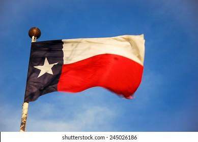 Texan flag waving.