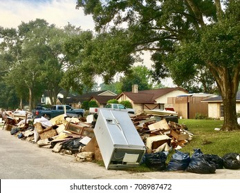 Texan homeowners start repairing and rebuilding houses that were damaged by the floods during Hurricane Harvey in Houston, Texas.