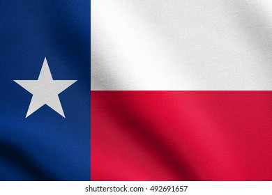 Texan official flag, symbol. American patriotic element. USA banner. United States of America background. Flag of the US state of Texas waving in the wind with detailed fabric texture